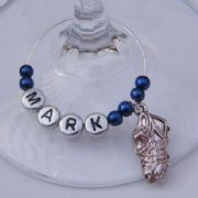 Football Boot Personalised Wine Glass Charm